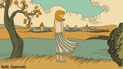 Girl and lake